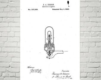 Lightbulb Patent Print // Thomas Edison // Patent Prints