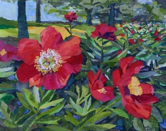 Red Peonies Collage