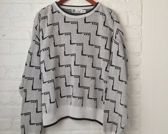 vintage 90's CHEVRON + ELLIPSIS SWEATER! geometric black & white avant garde size medium