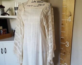 Boho Vintage 1960's batwing crochet, tassled dress