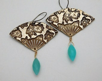 Bronze Clay Oriental Fan Dangle Earrings with Faceted Amazonite Beads