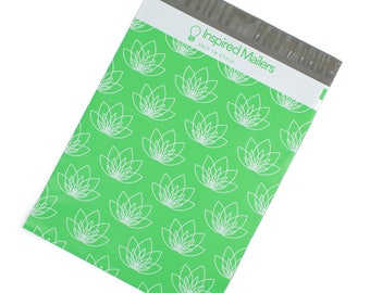 "Lotus Flower Printed Poly Mailers 10x13"" - Pack of 100 - FREE SHIPPING"
