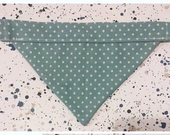 Slip on dog bandana mint green with spots