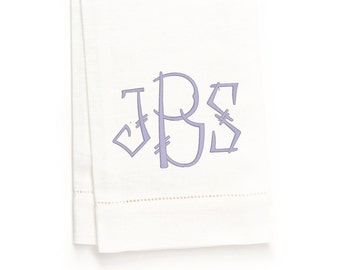 Chinois Monogram Hand Towel, White Linen