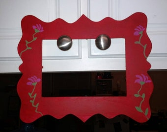 Flower floral hand painted picture frame - rustic - red
