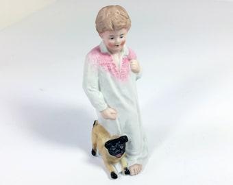 Antique Gebruder Heubach Figurine/ Porcelain Boy with Dog/ Antique Bisque Figurine/ German Porcelain Figurine