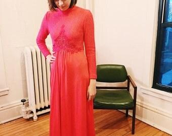 Vintage Pink Crochet Maxi Dress
