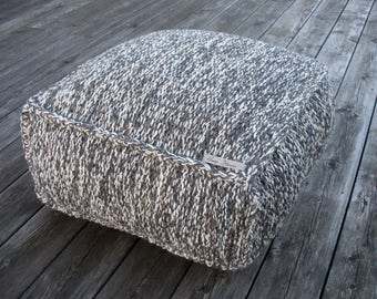 MADE TO ORDER ottoman-pillow crochet pouf-brown knitting pouf-knit chair-grey pouf-white pouf ottoman-floor cushion-home decor-chunky wool