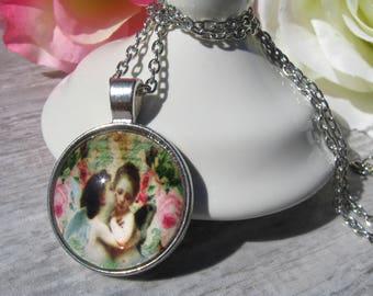 Cherub Glass Cabochon Necklace | Angel Jewelry Angel Jewellery Guardian Angel Jewelry Angel Wings Necklace Angel Wing Necklace Gift