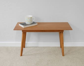 Vintage Solid wood coffee table with Mid Century Tapered legs