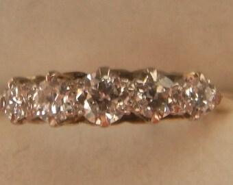 Great Edwardian Antique 5 Diamond Ring