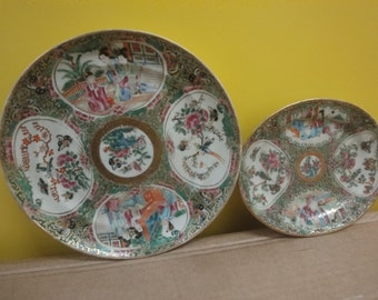 Two Chinese Famille Rose plates  1 x large =dia 20cm    1 x small=dia 16cm