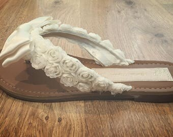 Ivory or White Rose and Bow Bridal Flip Flops Thongs