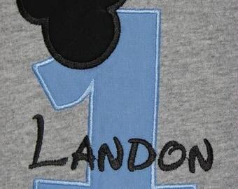 Personalized First Birthday Mickey Mouse Shirt. Boy's 1st Birthday Mouse Shirt. Mouse Head Birthday Shirt. Grey Birthday Shirt