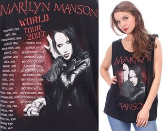 MARILYN MANSON Shirt Band Hard Rock Shirt Black Faded Heavy Metal World Tour Rocker Punk Unisex Cut Off Raw Edges Low Armhole M to L