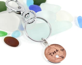 Personalized 25th Birthday Lucky Penny with Swarovski Birthstone Keepsake Handbag Charm Keyring Gift.