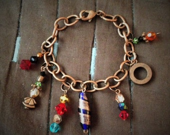 Copper Bracelet with colorful beaded charms