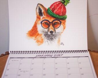 Hipster Animal Watercolor Calendar-2017