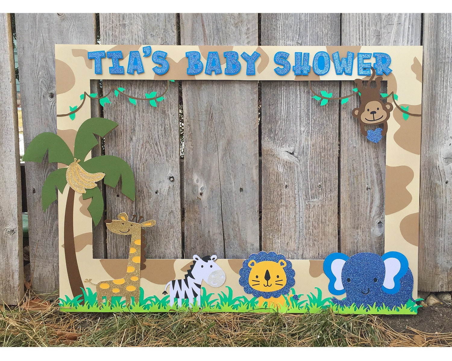 giant photo booth frame safari themed baby shower customized