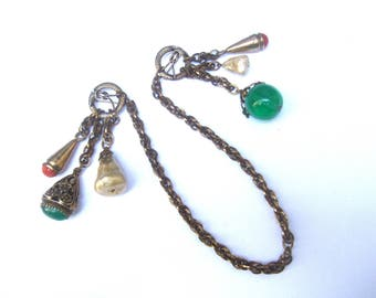 Adele Simpson Dangling Charm Chatelaine Brooch  c 1950