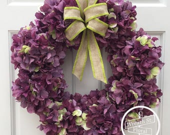 Hydrangea Wreath, Purple Wreath, Spring Wreath, Summer Wreath, Wreath Street Floral, Front Door Wreath, Grapevine Wreath, Everyday Wreath