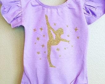 Leotard toddler girls ruffle sleeve gymnast birthday leotard  dance dance wear gymnastics glitter custom child childrens gift