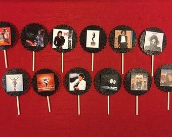 Michael Jackson Album Covers Inspired Cupcake Toppers, Michael Jackson Party, Michael Jackson cake topper, Michael Jackson, King of Pop, MJ