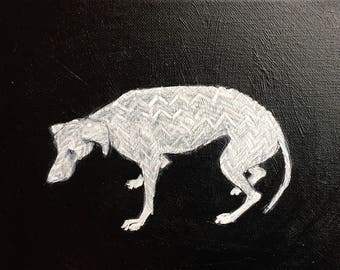 Unique dog art, dog paintings, dog drawing, reacue dogs, small art, black and gold, dog illustration