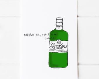 Gin Print Postcard