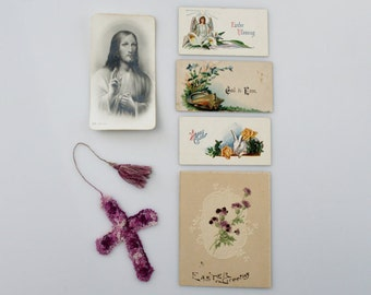 Vintage Easter Ephemera Lot - Antique Easter Greeting Cards - Jesus Religious Holy Card (SD394)