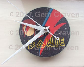 David Bowie Glam Rock CD Clock