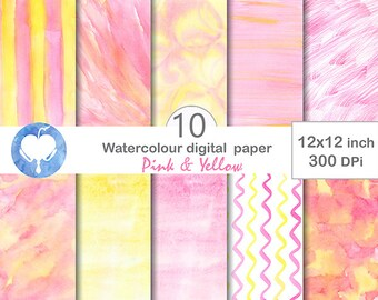 Digital Watercolor Paper Pink & Yellow - Commercial use hand painted digital abstract background overlay purple ombre strip brush light jpg