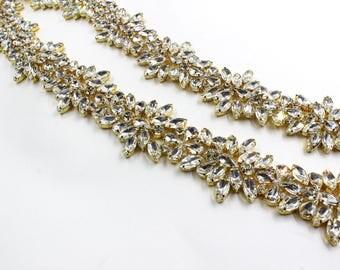 gold trim, Bridal Applique, DIY Weddings, trim, Rhinestone trim rhinestone applique crystal sash bridal sash headband wedding headpiece