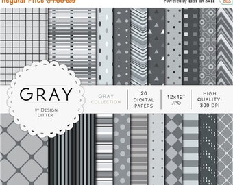 80% Until New Year - Gray digital papers · gray backgrounds with chevrons checkered stripes polka dots and triangles for scrapbooking · Inst