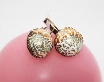 White polymer clay earrings, White drop earrings, Elegant white earrings, Wedding earrings, Fimo earrings, Gift for her