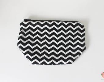 Makeup bag, small makeup bag, cosmetic bag, cosmetics bag, zipper pouch, chevron bag, chevron pouch