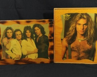 Set of (2) Vintage 1980's Van Halen Photos on Lacquered Wood