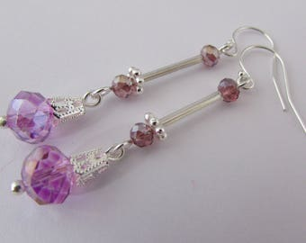 Lilac Faceted Glass Drop Earrings - Sterling Silver Earwires - Silver Plated - Handcrafted - Jewellery - Gift Idea - Present
