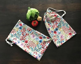 Farmer's Market Bag - Reusable Produce Bag - Floral Print - Wild Flowers - Set of 2 - Handmade Cloth Drawstring Bag
