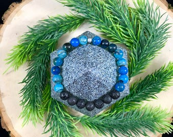 Essential Oil Diffuser Bracelet | Blue Green Agate | Natural Stone | Gift For Her | Lava Rock Jewelry | Healing Bracelet | Stretch