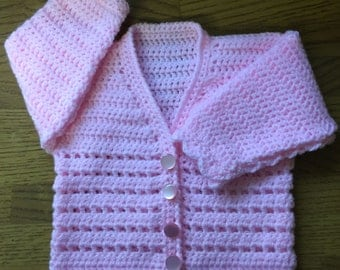 PDF DK Crochet Pattern For Baby/Child V Neck Cardigan Sizes Birth to 6 years (1003)