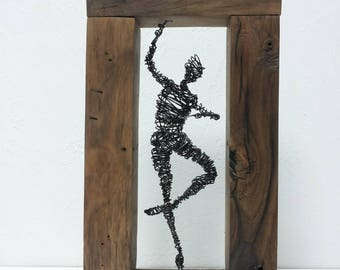 Wire Sculpture, Driftwood sculpture, reclaimed wood, Steampunk, Wire art, Wedding gift, Wood Art tabletop, Wood decor, Home decor, Gift mom