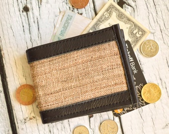 Hemp Wallet with leather trim hemp purse