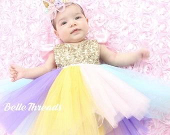 Unicorn 1st Birthday Girl Outfit Unicorn First Birthday Girl Clothing Rainbow Unicorn Birthday Baby Girl Clothes Unicorn Dress