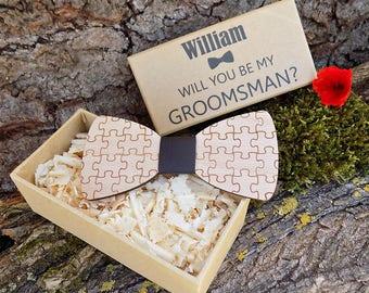 Puzzle Bow Ties, Groomsmen Bow Ties, Wedding Bow Ties, Men's Bow Ties, Wood Bow Ties for Men, Groomsmen Gifts, Groomsman Gift