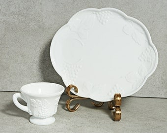 Milk Glass Sandwich plate and cup sets (4) in Harvest Grape pattern
