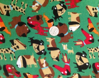 Dogs Pets Animals on Green Quilt Baby Blanket Blue Red Brown Black Tan Novelty Kids Girls Boys Flannel Fabric - Sold by 1/2 yd