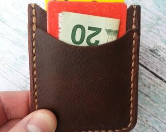 Credit Card Holder, 2 Pocket Card Holder, Custom Leather Card holder case, Minimalist Leather Wallet, Leather Wallet