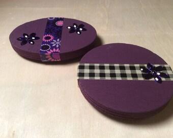 Purple Wood Magnet Set of 2