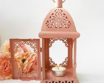 Pale pink Morrocan Lantern Rustic Lantern Wedding Decor Centerpiese Baby shower Bridal Party gift